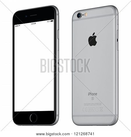 Space Gray Apple Iphone 6S Mockup Slightly Clockwise Rotated Front View With White Screen And Back S