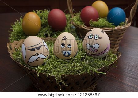 Egg Face Family In Wicker Basket