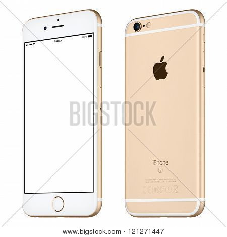 Silver Apple Iphone 6S Mockup Slightly Rotated Front View With White Screen And Back Side With Logo