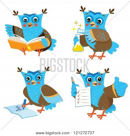 Cute Owl And Learning Set On A White Background. Funny Owl Learn On A White Background. Cartoon Vector Illustrations. Owl Picture. Owl Memes. Owl Jokes. Owl Sayings. Owl Gifts. Owl Toy. Owl Sticker.