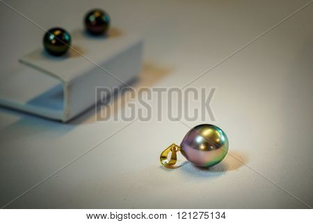 Tahitian black pearls on display