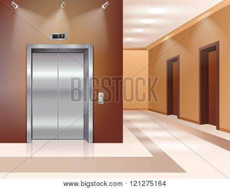 Hall with elevator