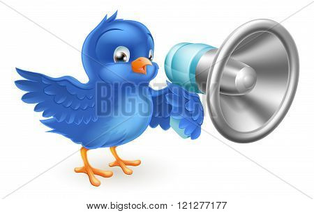 Cartoon Blue Bird With Mega Phone