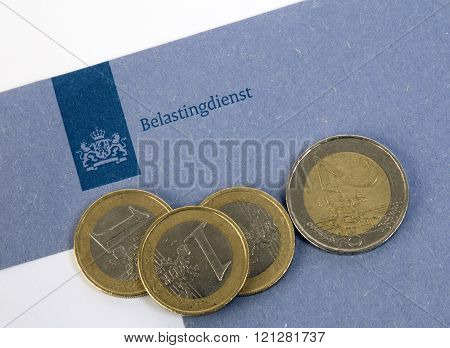 Dutch Blue Tax Envelope Of The Tax Office With Euro Coins