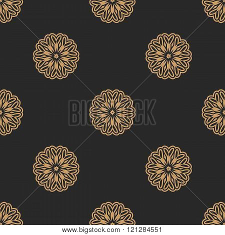 Seamless pattern. Golden Floral Mandala.