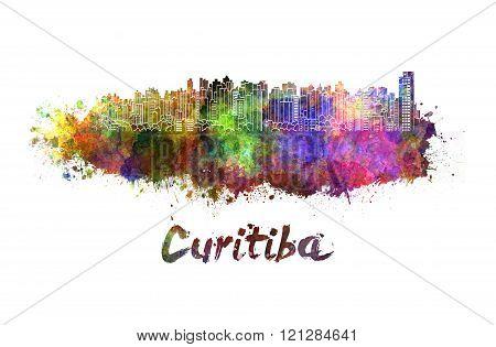 Curitiba Skyline In Watercolor