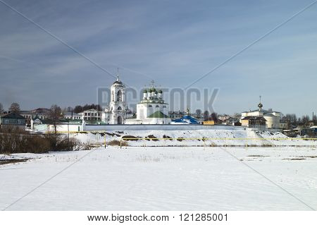 Priory From White Brick In Russia In Winter