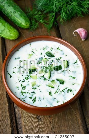 Yoghurt Cold Soup With Cucumbers And Dill
