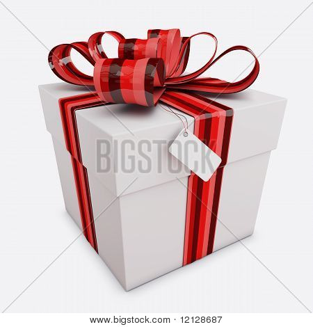 Gift Box With Bow & Tag Isolated