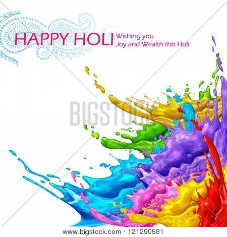 illustration of colorful splash in Happy Holi background