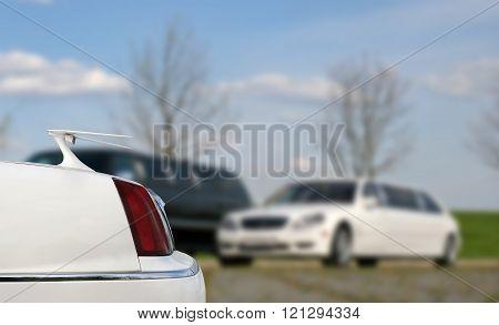 Stretch limo. Limousine trunk. Luxury white limousine.