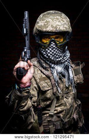Portrait Of Soldier With Gun