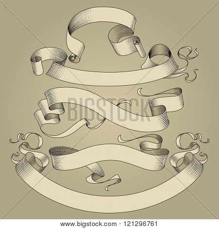 Set of vintage ribbons in engraving drawing style. Contain the Clipping Path