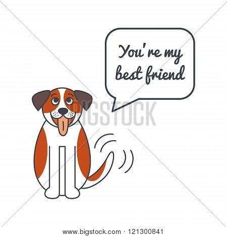 Happy St. Bernard dog with speech bubble and saying