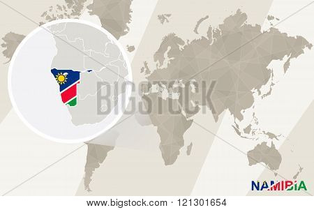Zoom On Namibia Map And Flag. World Map.