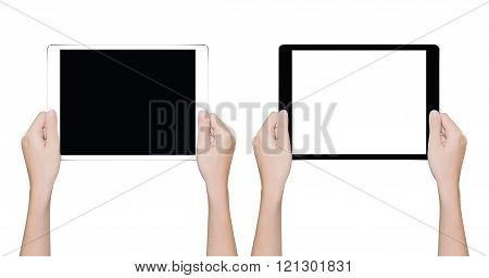 Closeup Hand Holding Tablet like in ipades style Isolated White Clipping Path Inside