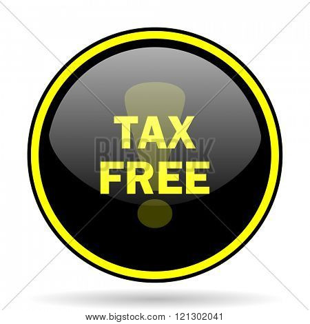 tax free black and yellow modern glossy web icon
