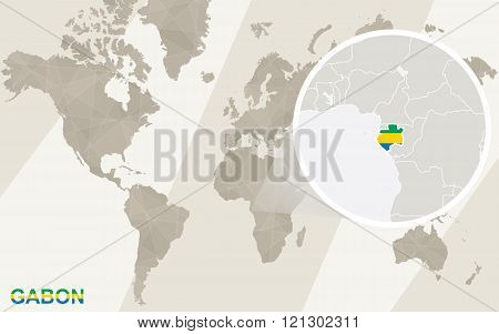 Zoom On Gabon Map And Flag. World Map.