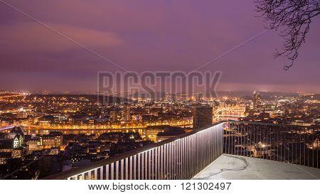 Panorama view from montagne de beuren in Liege. City trip belgium in europe.