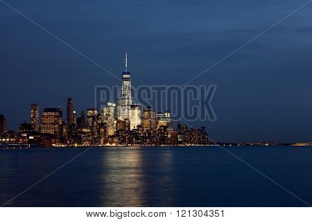 Lower Manhattan Skyline At Twilight