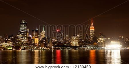 Midtown Manhattan Skyline At Night