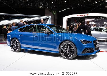 GENEVA, SWITZERLAND - MARCH 1: Geneva Motor Show on March 1, 2016 in Geneva, Audi RS7 Sportback, side-front view