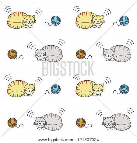 Sleeping tabby cats seamless pattern.