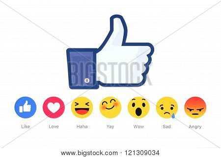 New Facebook like button 6 Empathetic Emoji Reactions