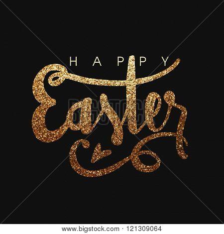 Golden glittering text Easter on black background, Elegant greeting card design for Happy Easter celebration.