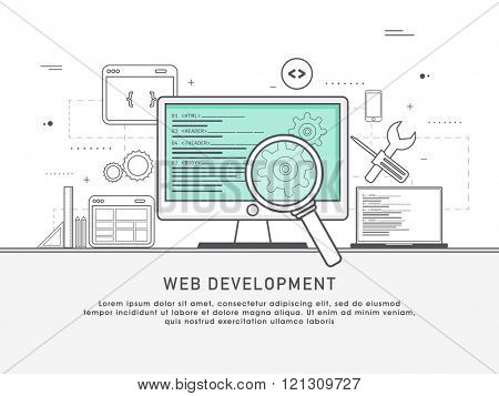One page web design template with thin line icons of development services by design studio. UI and UX for web, app coding and more. Flat design graphic hero image concept, website elements layout.