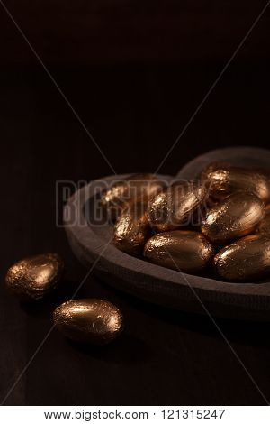 Chocolate Mini Eggs, Wrapped In Gold Foil