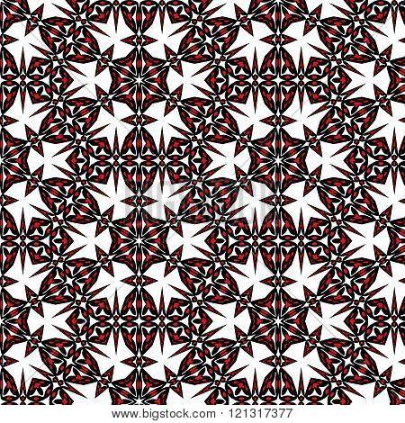 Symmetric Seamless Pattern Black-red