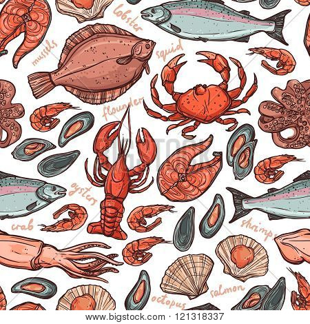 Pattern with seafood hand drawn color elements with lobster, octopus, squid, salmon, flounder, crab, mussels, oysters and shrimps on white background