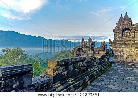 Mountain views from Borobudur Temple ( Indonesia )