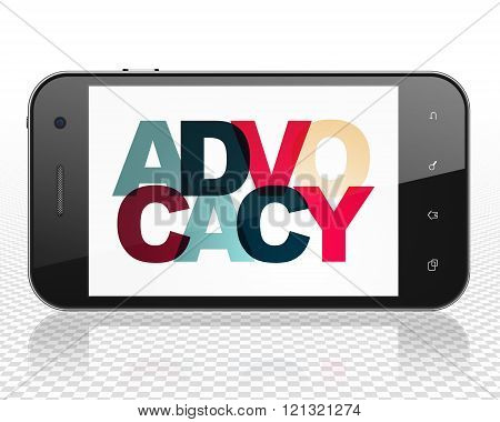 Law concept: Smartphone with Advocacy on  display