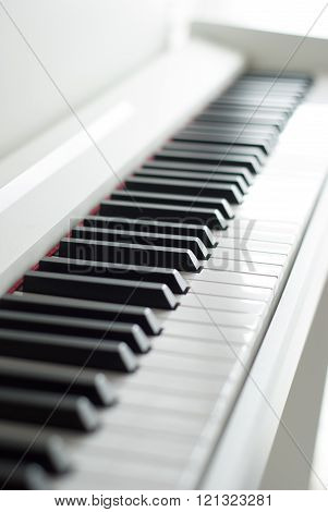 Piano keys. Piano playing. Black and white keys. Electronic piano