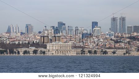 Dolmabahce Palace And Besiktas In Istanbul City