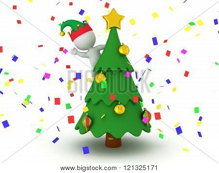 3D Character With Elf Hat Standing In Decorated Christmas Tree