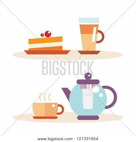 Tea time illustration, coffee break