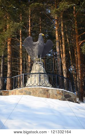 Belokurikha/Russia - January 2016: Eagle sculpture behind