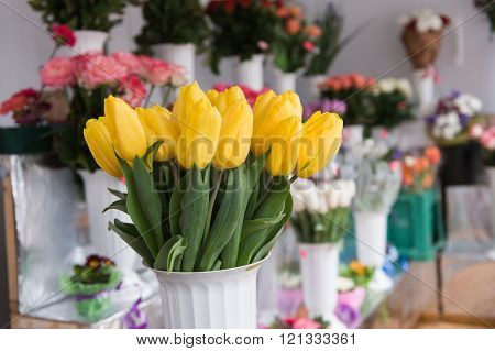 Bouquet Of Tulips On The Background Flowers