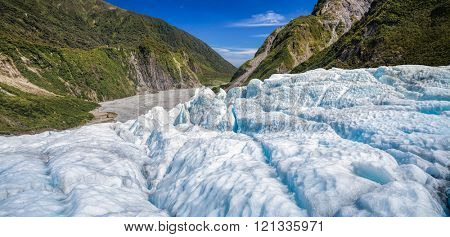 Panoramic view of the lower part of Fox Glacier at New Zealand's South Island a major tourist attraction and one of the most accessible glaciers in the world