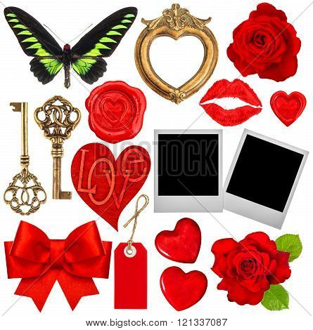 Valentines Day Scrapbook. Red Hearts, Photo Frame, Lips Kiss
