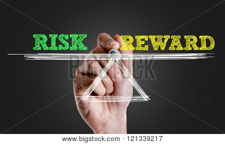 Hand writing the text: Risk vs Reward