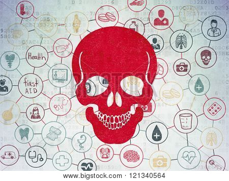 Healthcare concept: Scull on Digital Paper background