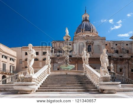 Stairs Of The Fountain In Piazza Pretoria, Palermo