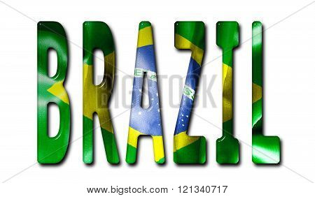 Brazil Word With Flag Texture