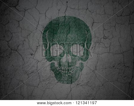 Medicine concept: Scull on grunge wall background