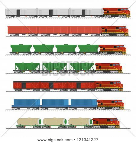 Essential Trains. Collection of freight railway cars. Isolated on white background. Vector illustrat