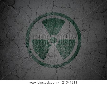 Science concept: Radiation on grunge wall background